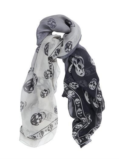 Alexander McQueen Dégradé skull-print silk scarf