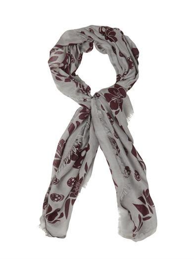 Alexander McQueen Graphic tulip and skull fine-knit scarf
