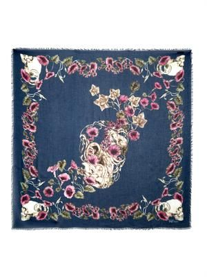 Still Life skull and floral-print scarf