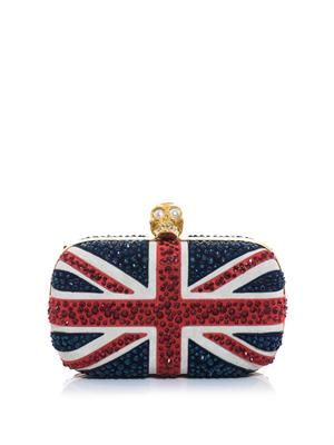 Britannia suede and crystal clutch