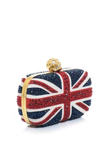 Alexander McQueen Britannia suede and crystal skull box clutch
