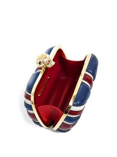 Alexander McQueen Britannia leather skull box clutch