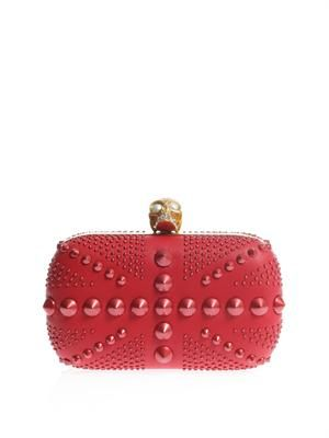 Britannia studded leather skull box clutch
