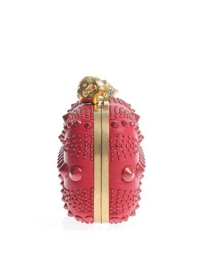 Alexander McQueen Britannia studded leather skull box clutch