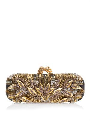 Twin skull embellished-satin clutch