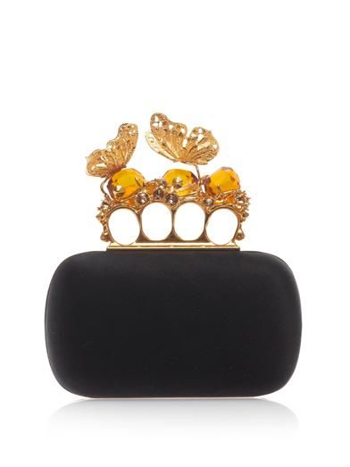 Alexander McQueen Butterfly Knucklebox satin clutch