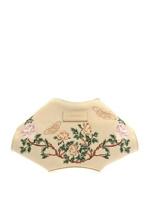 De Manta embroidered suede clutch