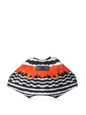 De Manta feather-print satin clutch