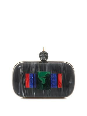 Colour-block punk skull box clutch