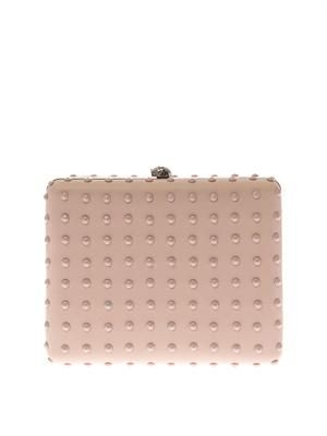 Book studded leather box clutch
