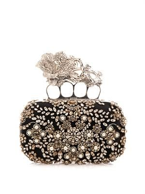 Knucklebox embellished satin clutch