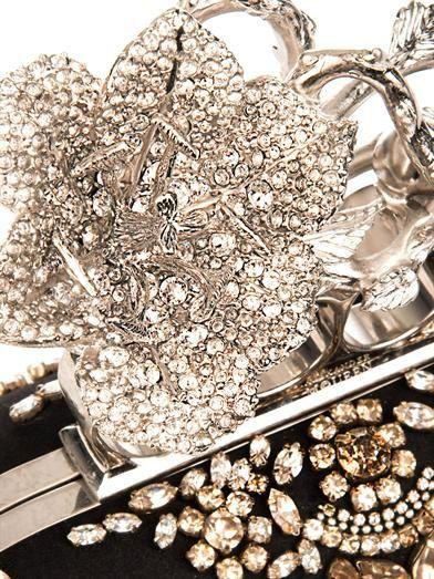 Alexander McQueen Knucklebox embellished satin clutch