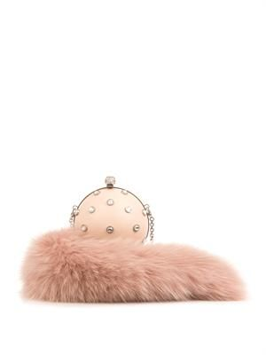 Fur-charm leather clutch