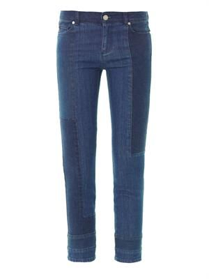 Patchwork mid-rise cropped jeans
