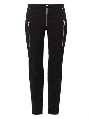 Mid-rise slim-leg cropped biker jeans