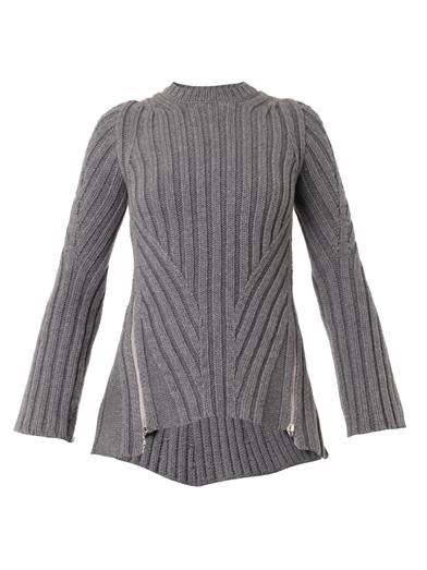 Alexander McQueen Zip-side ribbed-knit sweater
