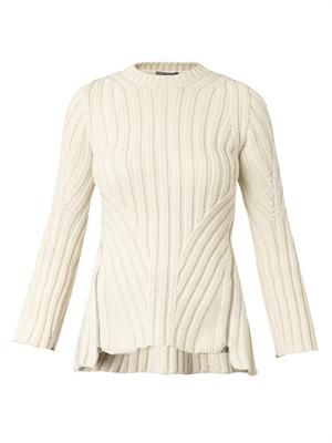 Zip-side ribbed-knit sweater