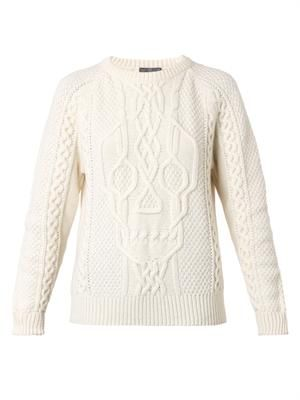 Skull cable-knit sweater