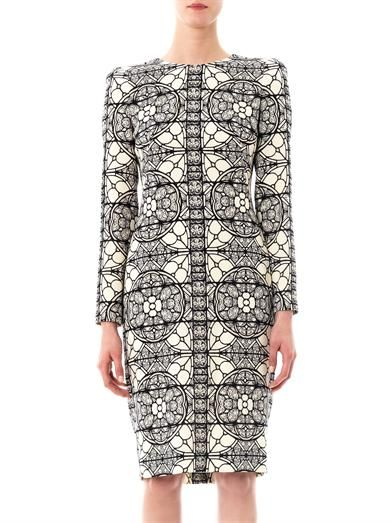 Alexander McQueen Stained glass-print crepe dress