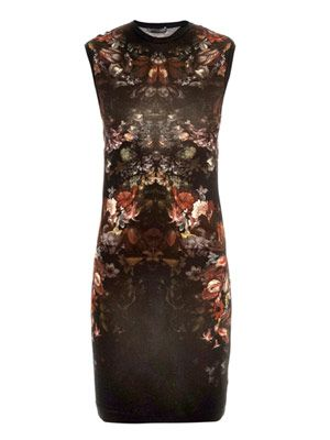 Engineered knit floral-print dress