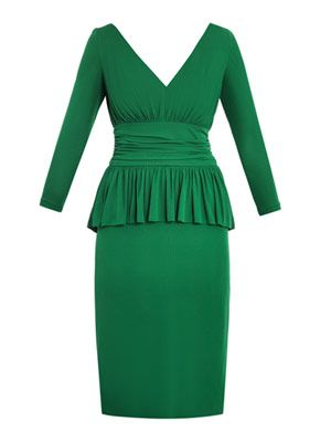 Peplum detail crepe-jersey dress