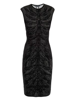 Spine lace jacquard knit dress