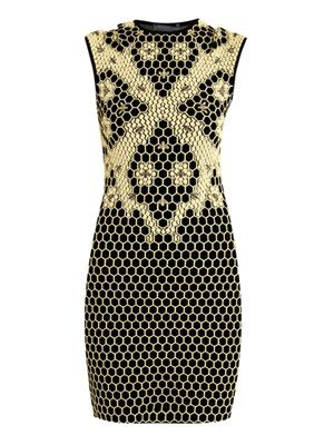 Honeycomb 3D intarsia-knit dress