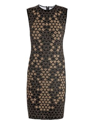 Honeycomb lace-print jersey-dress