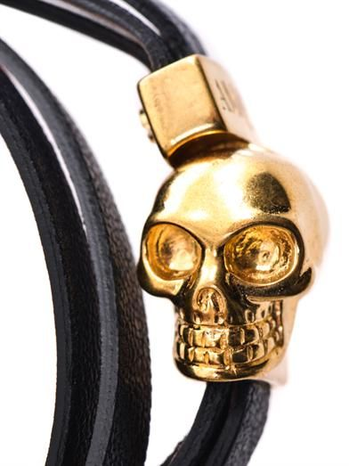 Alexander McQueen Double-wrap leather skull bracelet