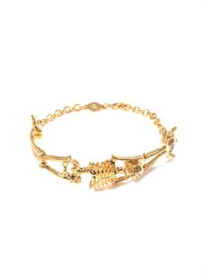 Topaz and gold-tone skeleton bracele