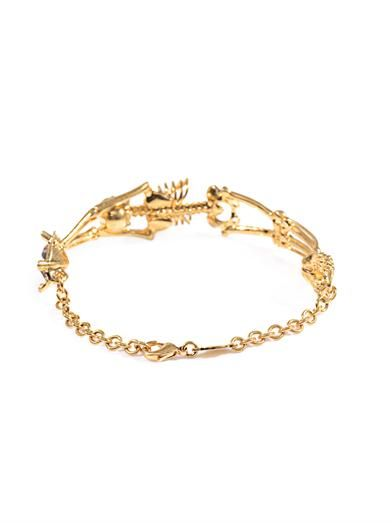 Alexander McQueen Topaz and gold-tone skeleton bracelet