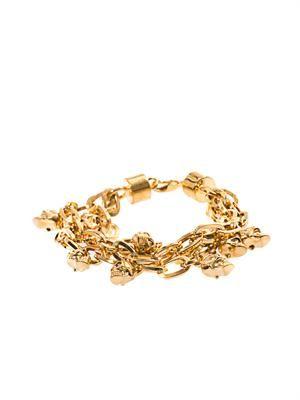 Multi-strand skull charm bracelet