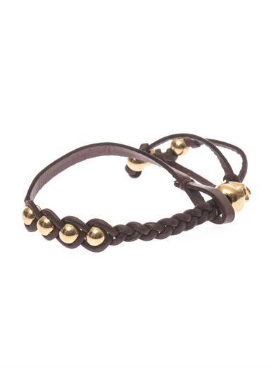 Alexander McQueen Plaited leather skull bracelet