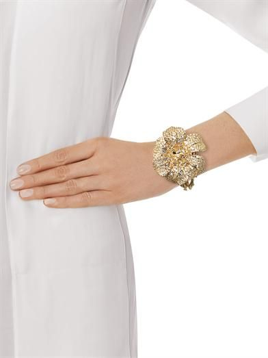 Alexander McQueen Crystal-embellished flower bracelet
