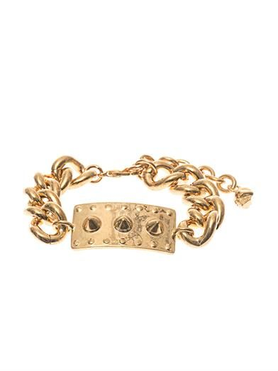 Alexander McQueen Studded-plate and chain bracelet