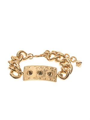 Studded-plate and chain bracelet