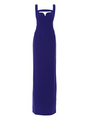 Cut-out leaf-crepe gown