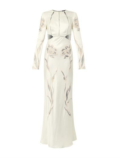 Alexander McQueen Floral-embroidered satin gown