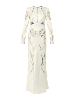 Floral-embroidered satin gown
