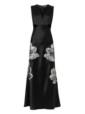 Floral-embroidered cut-out satin gown