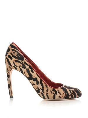 Leopard-print calf-hair pumps