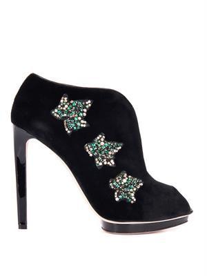 Leaf-embellished velvet ankle boots