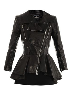 Waterfall peplum leather jacket