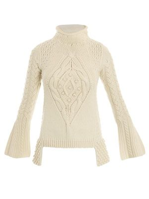 Chunky Aran-knit sweater