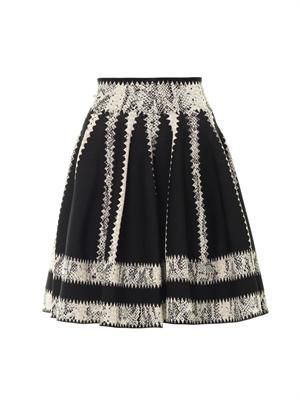 Striped jacquard skater skirt