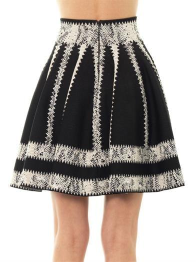 Alexander McQueen Striped jacquard skater skirt