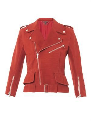 Nubuck leather peplum biker jacket