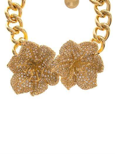 Alexander McQueen Crystal-embellished flower choker