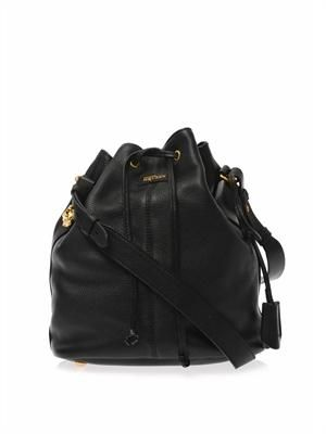 Padlock leather bucket bag