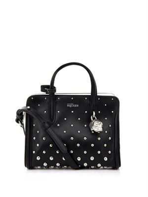 Padlock studded mini leather bag